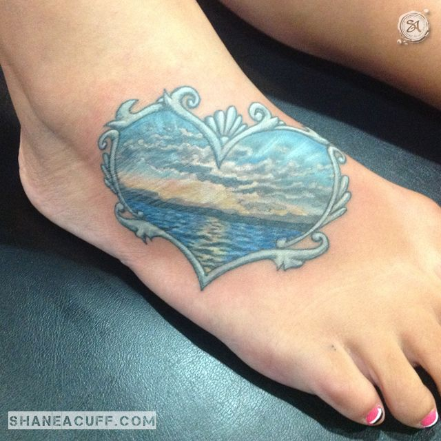 Sunset Heart Foot Tattoo - SA: Design, Art & Tattoo | Albuquerque, NM | A Private Studio run by Artist Shane Acuff