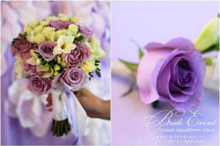 Свадебный букет фиолетовый и бутоньерка Bride Event