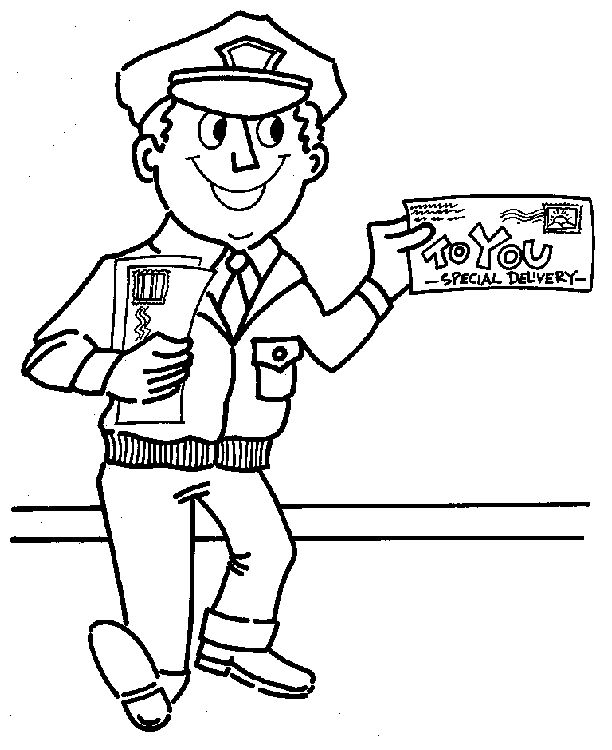 mailman coloring pages google search - Community Helpers Coloring Pages