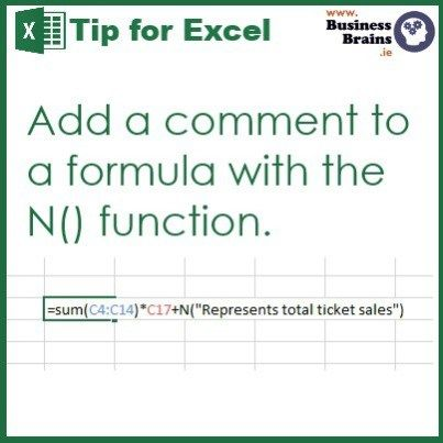 Comment Excel formulas with the N() function