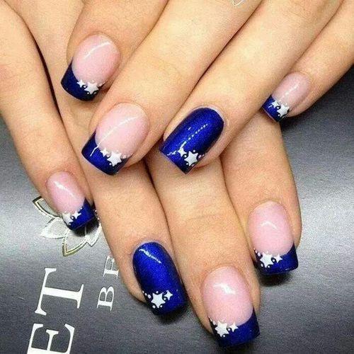 Фото дизайн синих ногтей