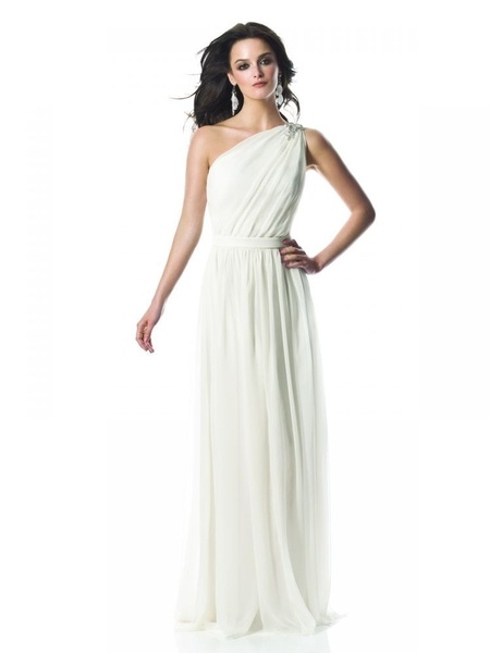 Grecian wedding dress perfection. One shoulder crinkle chiffon in ivory.
