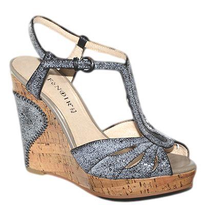 #Sandalo con la zeppa alto con cinturino a T decorato da glitter nero \ grigio di #Cafenoir  http://www.tentazioneshop.it/scarpe-cafe-noir/sandalo-zeppa-hb902-nero-cafe-noir.html