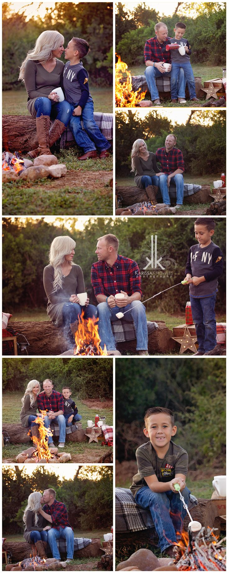 Family Campfire Mini, Fall Family session, Campfire session, Smore's Country Session, Christmas Session Fashion Ideas, Family of 3 Karissa Knowles Photography www.karissaknowlesphotography.com