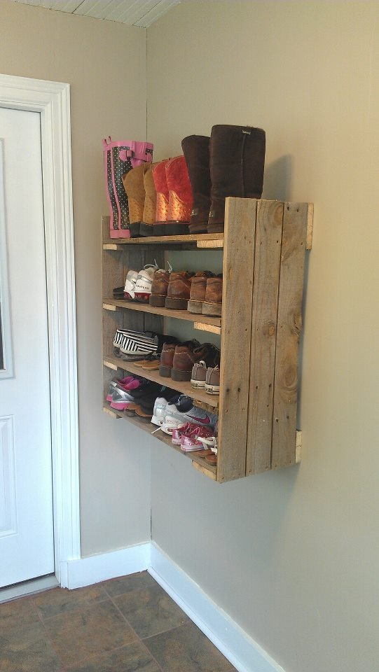 our shoe rack in the mud room!