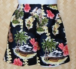 FREE SHIPPING - EVERY ORDER, EVERY DAY! These Boxer Shorts are made in Hawaii with aloha by the Bamboo Boxer Company! This print includes fresh plumeria lei, hibiscus, palm trees, wooden outrigger canoe & paddles, and dancing hula girls.Bamboo Boxers are Made in Hawaii of 100% cotton fabric. An extra soft, wide elastic band ensures comfort. Quality fabric is used and double stitching results in a durable product which withstands many washings. Has a genuine coconut shell button on the fly.