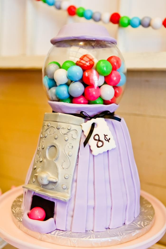 Gumball Machine Cake ~  Bubblegum themed 8th Birthday Party with Lots of REALLY CUTE Ideas