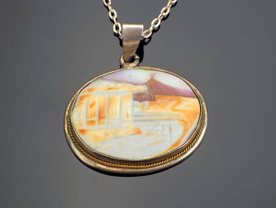Mount Vesuvius Cameo Necklace Cowrie Shell Pendant with Chain