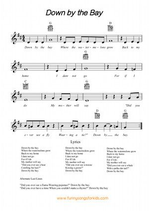 Down by the Bay Lyrics - Funny Songs for Kids                                                                                                                                                                                 More