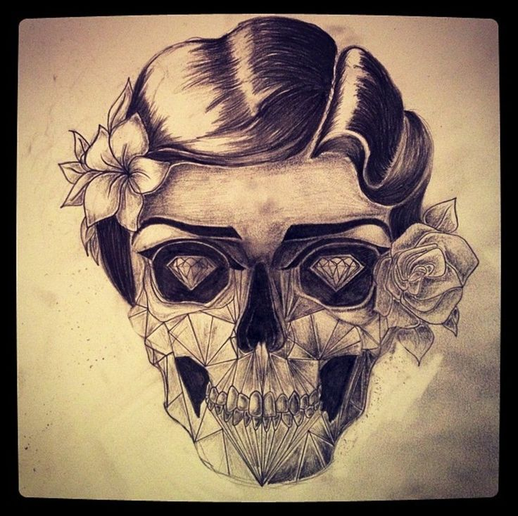 skull with hair tattoo - Google Search