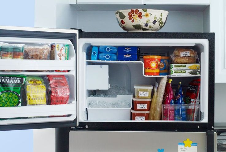 """Freeze food in flat in zip-seal bags, labels them by date, and then """"file"""" them vertically in bins to maximize space."""