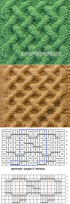 Узор спицами 524 плетенка | каталог вязаных спицами узоров