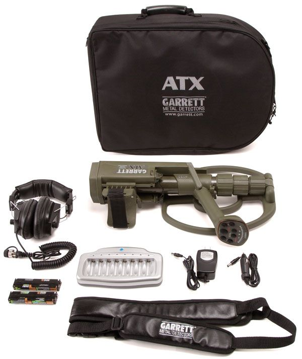 """ATX basic package includes:  ATX with 12"""" DD coil Land headphones (Waterproof headphones sold separately) Soft storage/travel case Garrett Detector Sling AA alkaline and rechargeable batteries Battery charger www.metal-detectors.gr 2381023237"""