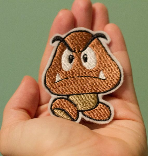 Goomba -- Iron-on Nintendo patch from Super Mario Brothers NES game. $5.00, via Etsy.