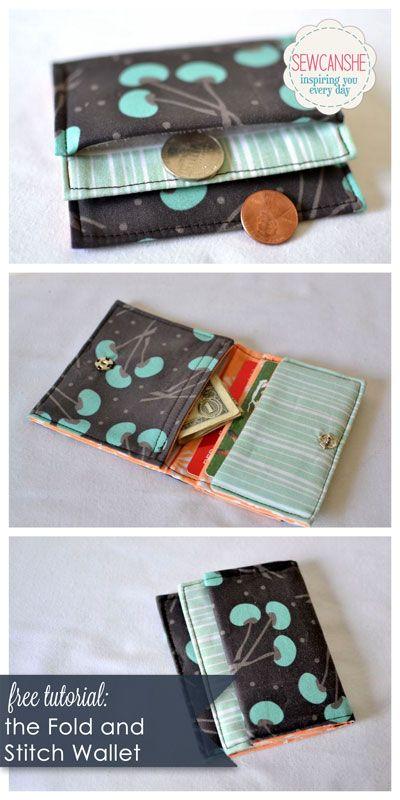 DIY Un porte-monnaie. (http://www.sewcanshe.com/blog/foldandstitchwallet)