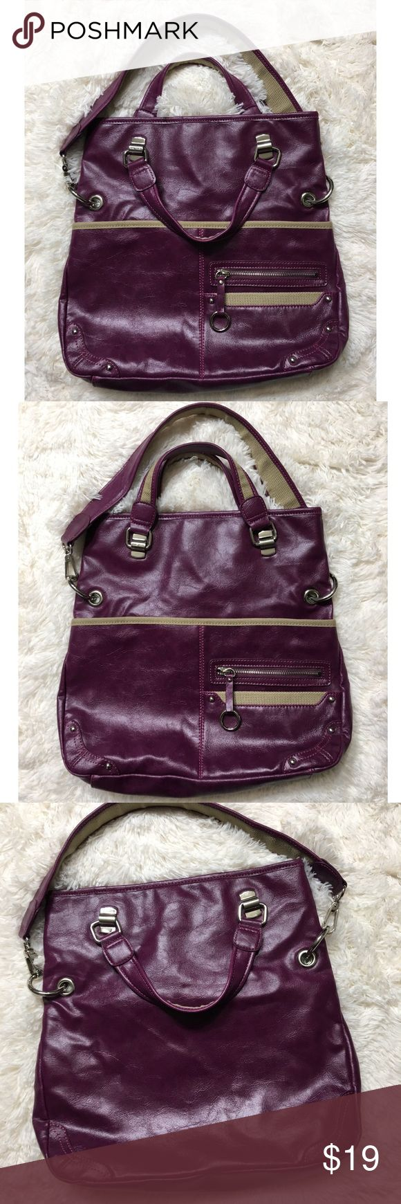 Nine West Purple Shoulder Bag Bag Length: 14 inches Height: 13 inches Width: 4 inches Nine West Bags Shoulder Bags
