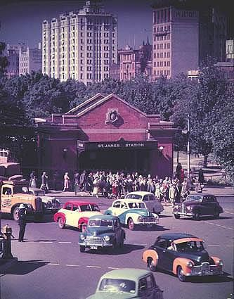 demolished entrance to St James Station, facing Macquarie St, Sydney. It was replaced with a pedestrian tunnel under St James Road when Queen's Square was turned into a mall in the 1970s.
