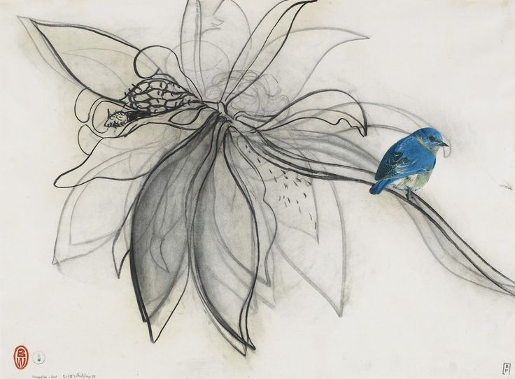 Brett Whiteley (Australian, 1939-1992), Magnolia and Bird, 1978. Charcoal and collage on paper, 56 x 76cm.