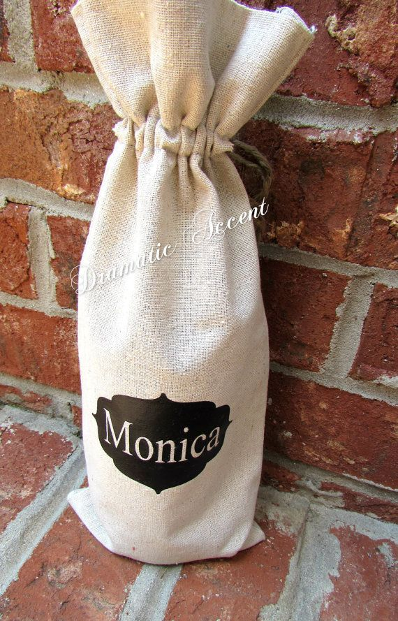 Personalize Wine Bag, Monogram gift bag, Corporate Gift - Wedding Favor -Unique Holiday gift -Christmas bag - Bridesmaid bag - low shipping on Etsy, $12.50