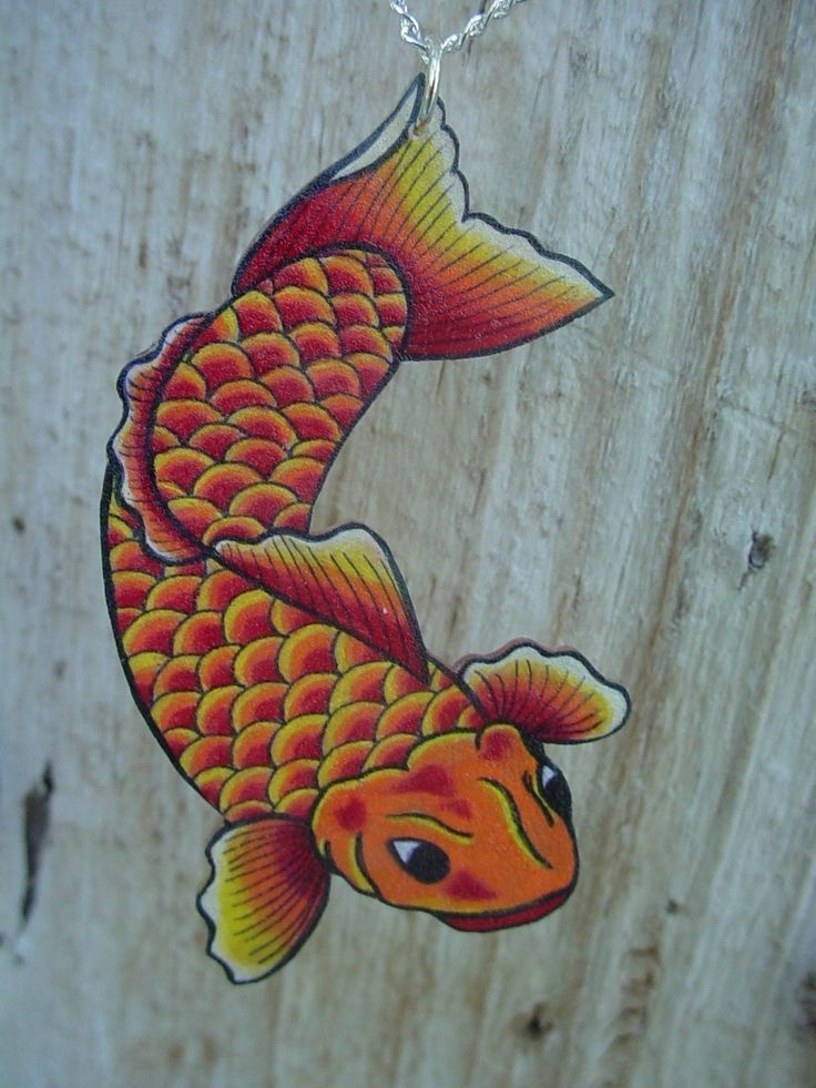 Traditional japanese tattoo koi fish necklace by for How much are koi fish