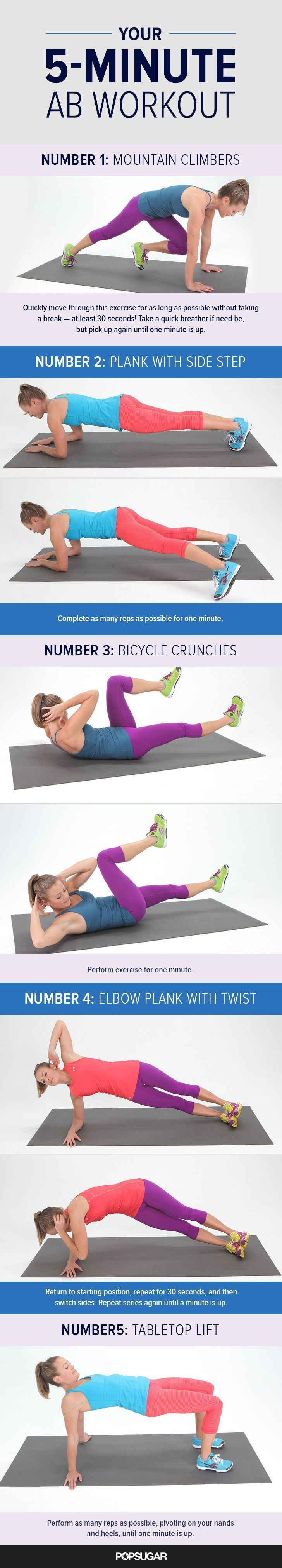 5-Minute Workout For Abs | POPSUGAR Fitness