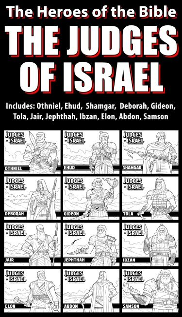 The Judges of the Bible Coloring Pages Bundle Pack: Great for your VBS, Sunday School or Homeschool activities. This bundle includes the Judges of Israel as listed in the Book of Judges. It includes: Othniel, Ehud, Shamgar, Deborah, Gideon, Tola, Jair, Jephthah, Ibzan, Elon, Abdon, Samson The J