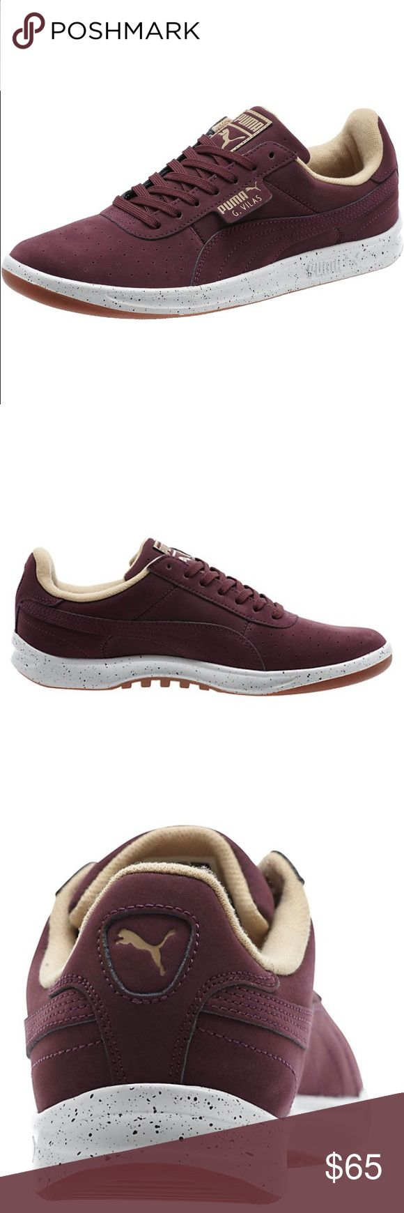 Puma G. Vilas Nubuck Burgundy Speckle Sneakers Brand new in box. Sz 7 Men Sz 8.5 Women Puma Shoes Sneakers