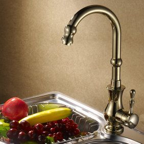 Contemporary Solid Brass Centerset Kitchen Faucet Ti-PVD Finish T0478A