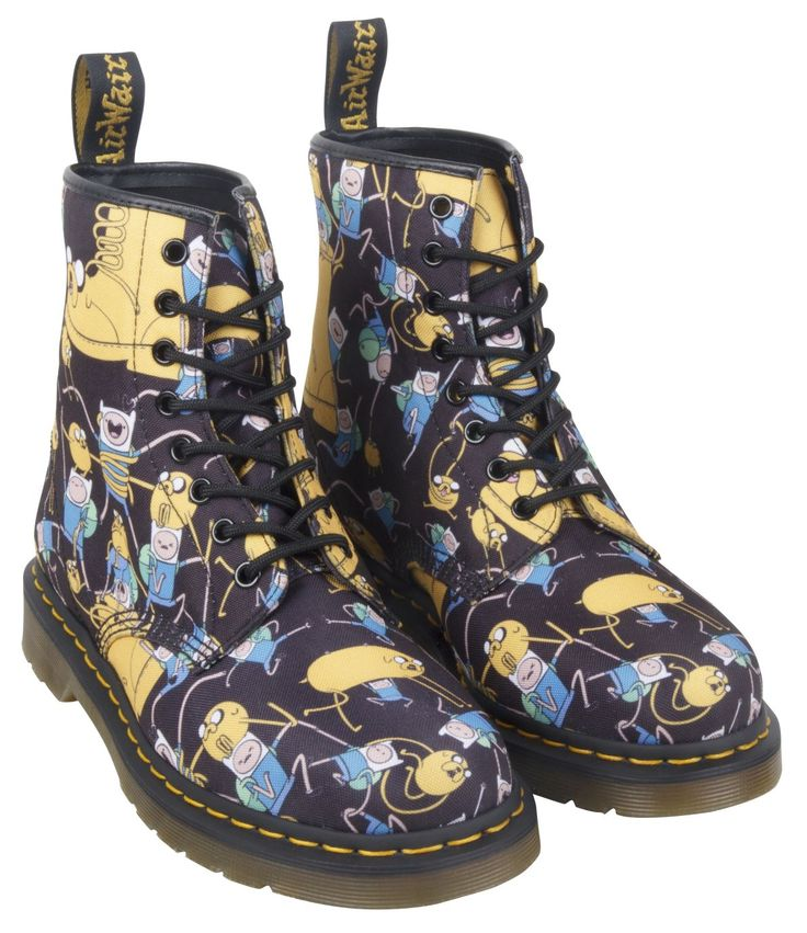 Dr. Martens X Adventure Time - Finn & Jake all-over print canvas boots. Available online at drmartens.com and in selected stores from Monday 2nd March.