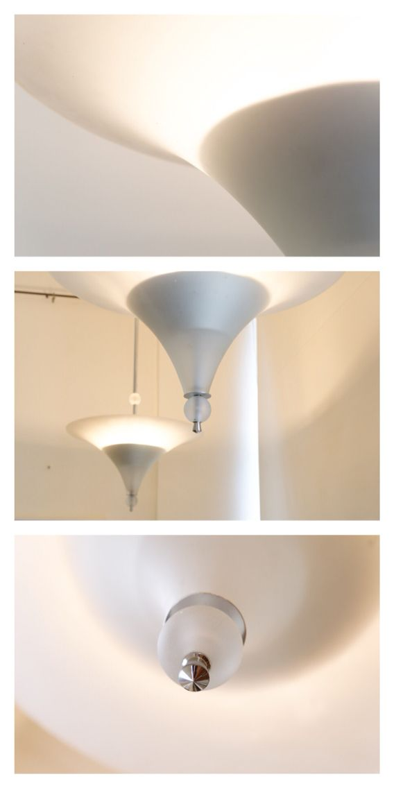 Modernist German ceiling lights, pair, c.1920.
