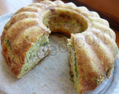 Кабачковый пирог с курицей, срез