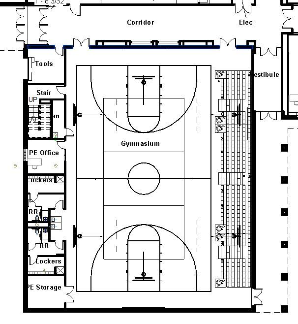 Elementary school building design plans protsman for Basketball gym floor plan