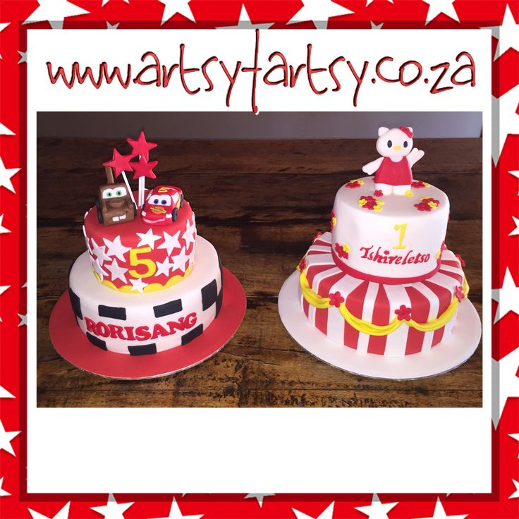Matching Disney Cars and Hello Kitty Cakes for Siblings #matchingsiblingcakes