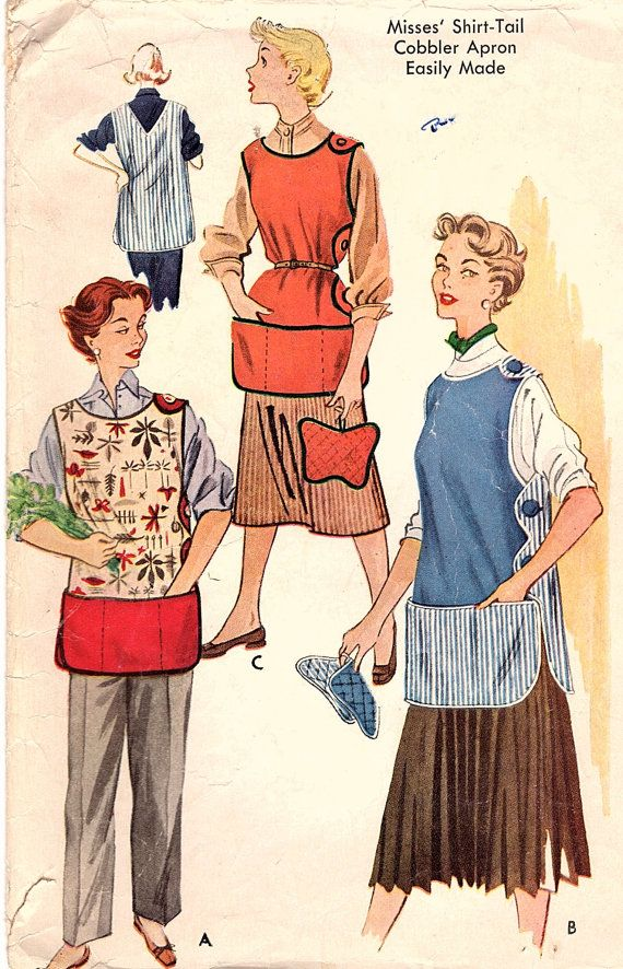 Vintage Original 1950s McCall's 1778 Cobbler Apron Shirt-Tail Side Button Pockets Pot Holder Sewing Pattern Size Medium