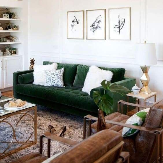 Best Do Opposite—Leather Sofa And Emerald Velvet Chairs 400 x 300