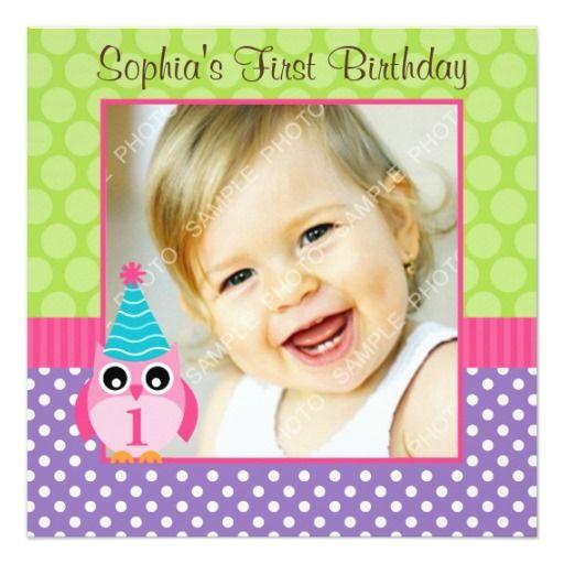 367 best owl birthday party invitations images on pinterest owl purple green owl polka dot 1st birthday girl photo invitation stopboris Choice Image