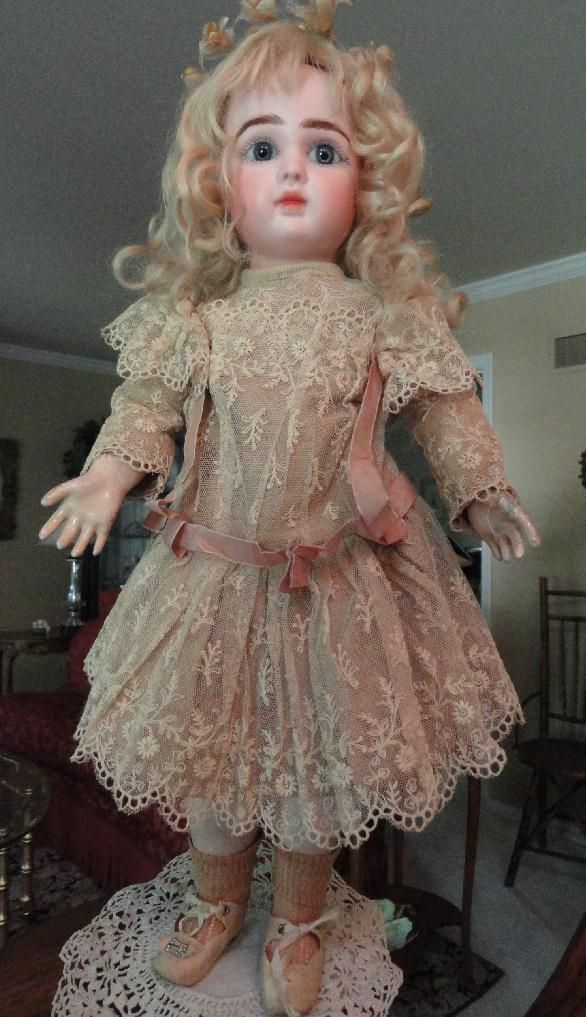This little girl epitomizes the beauty of the Figure bebes made by the Jules Steiner company in France around 1890. She measures 16 tall and is just