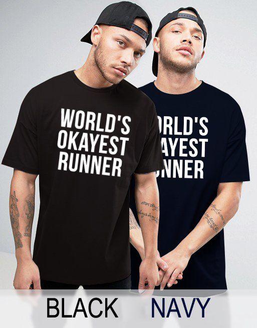 Black+Men's+Tshirt+World's+Okayest+Runer+Black+Shirt+For+Men