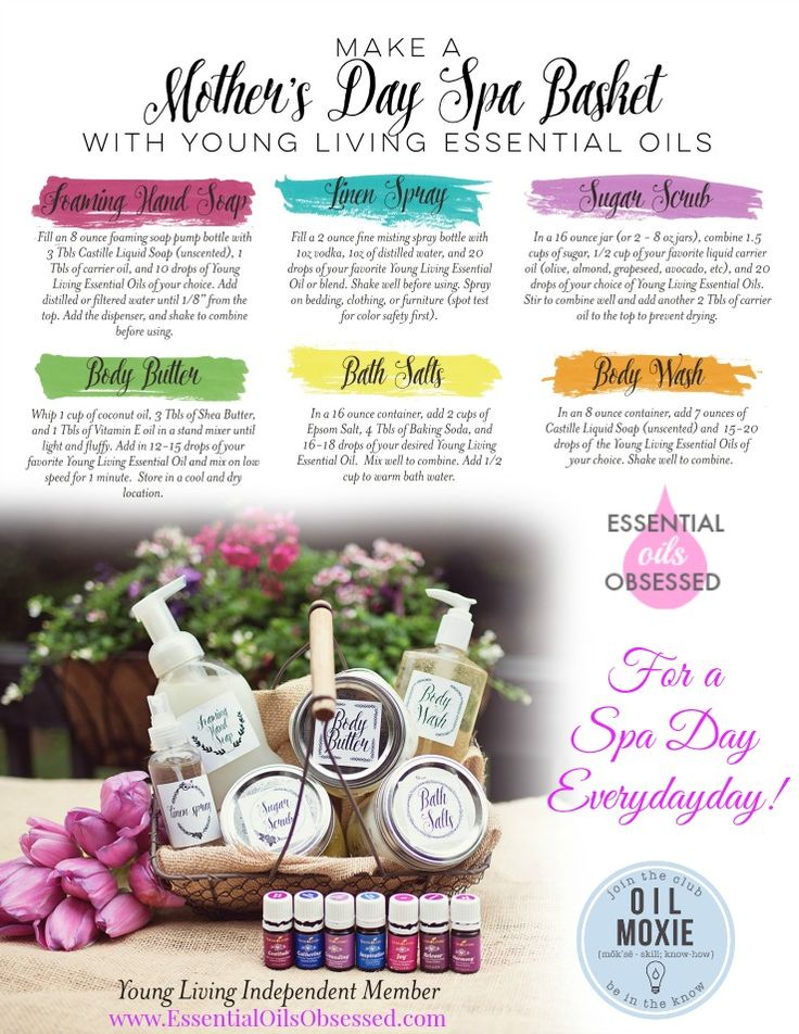 Recipes for how to make spa products with Young Living Essential Oils.