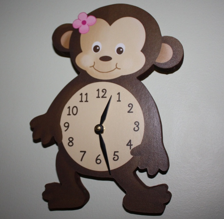Girl Monkey Wooden WALL CLOCK for Girls Bedroom Baby Nursery. $45.00, via Etsy.