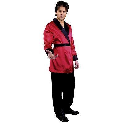 Red Smoking Jacket Costume Adult Hugh Hefner Halloween Fancy Dress