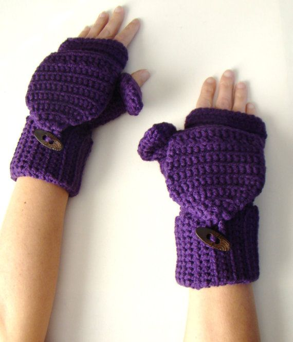 Purple Mittens Plum Convertible Fingerless by CreativeEndeavorsKS