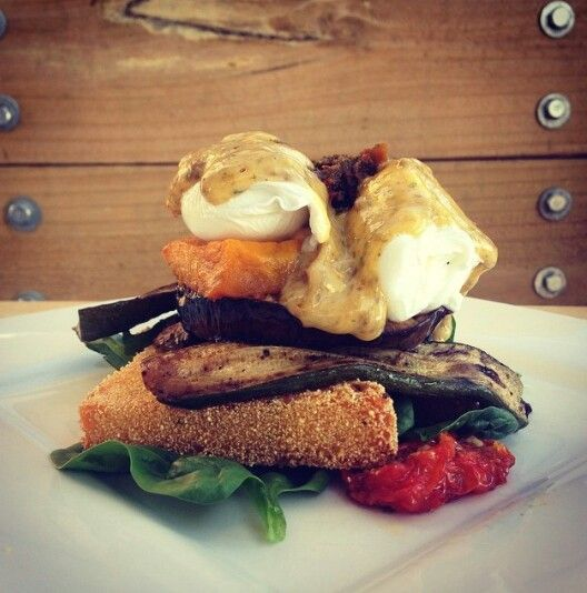 #breakfast #poached #polenta #grilled #vegetables #hollandaise #kirramisucafe