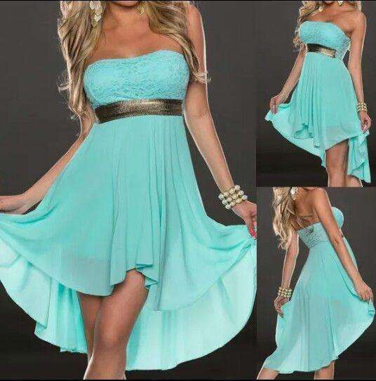 Beautiful Tiffany-blue hi-lo dress.