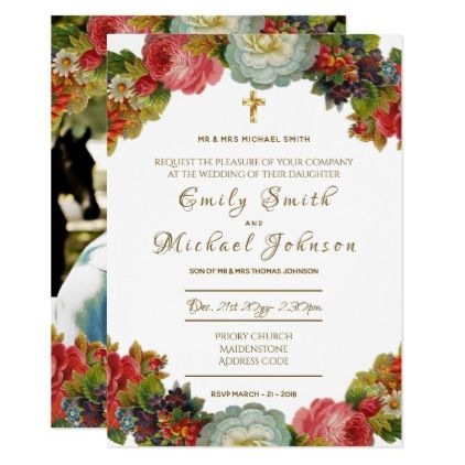 Catholic Wedding Invitation - ADD PHOTO - Formal - flowers floral flower design unique style