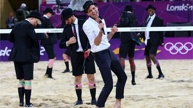 Artist Mika performs between games at the Women's Beach Volleyball on Day 12 of the London 2012 Olympic Games at the Horse Guard's Parade.: Off Guard, Horses Guard, Photo