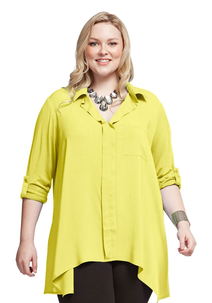 Knit Woven Shirt Our popular woven knit shirt has a handkerchief hemline and roll-up sleeves that make it a perfect casual piece that can be styled up or down for the occasion. Made from a beautifully light fabric that flatters the figure, this will be your go-to piece this season.