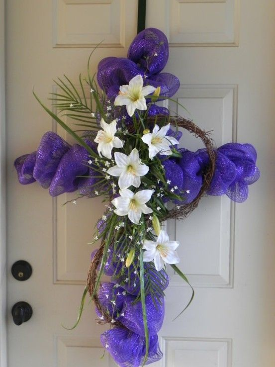 Mesh Ribbon, Some twigs into a wreath, a small palm and white lilies... could recreate this with a wire hanger for a form for the cross.