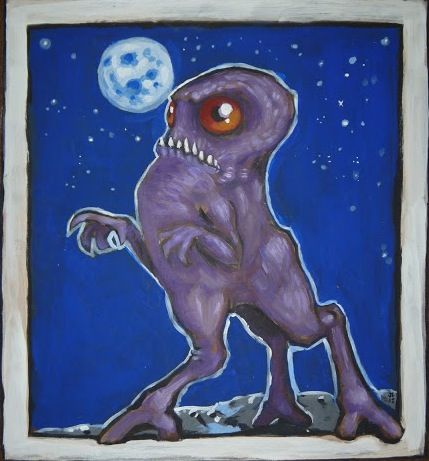 Enfield horror- North American cryptid: a strange creature described as having three six toed legs, short gray body, two large pink eyes, and short clawed arms on its chest. It could leap several meters in one bound.