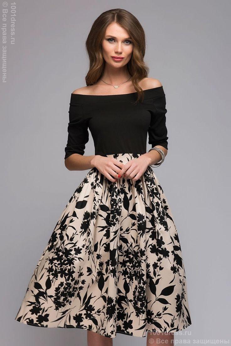 фото Платье длины миди с черным верхом и юбкой с цветочным принтом и открытыми плечами